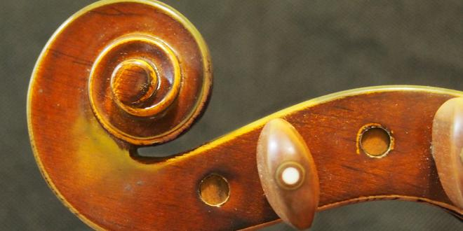 The head of a violin